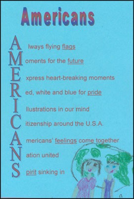 Americans: Always flying flags, Moments for the future, Express heart-breaking moments, Red, white and blue for pride, Illustrations in our mind, Citizenship around the USA, Americans' feelings come together, Nation united, Spirit sinking in