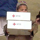 President helped send off relief supplies to Afghan children. Photo courtesy American Red Cross.