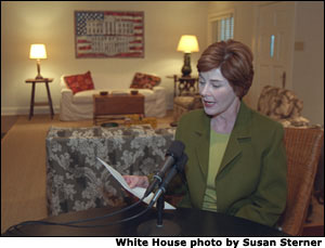 Laura Bush reads her Radio Address from Prairie Chapel Ranch in Crawford, Texas. Mrs. Bush is the first First Lady to deliver an entire Presidential Radio Address. White House photo by Susan Sterner.