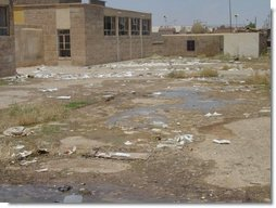 Years of neglect from Saddam's regime destroyed the country's education infrastructure. While Saddam was building palaces to himself, Iraq's children suffered. This school yard is an example of the need for facility rehabilitation.