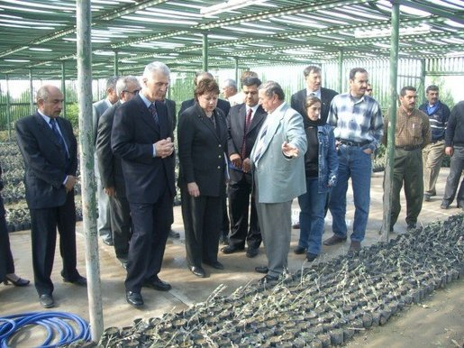 Agriculture Secretary Ann M. Veneman tours a nursery in Erbil, Iraq.