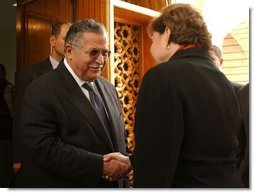 Agriculture Secretary Ann M. Veneman and President Talabani, the current President of the Governing Council in Iraq.
