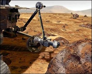 Rock Abrasion Tool (RAT). An NASA computer generated image demonstrating the Rock Abrasion Tool (RAT) on the rover's robotic arm. The RAT grinds away the rock's surface, allowing scientific instruments to analyze the rock's interior.