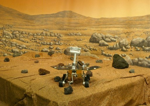 Mars Exploration Rover (MER). A picture of a model of the Mars Exploration Rover taken on Sunday, January 2004, at NASA's Jet Propulsion Laboratory (JPL) in Pasadena, California. Spirit is the first of two golf-cart-sized rovers headed for Mars landings in January. The Rovers will seek evidence about whether the environment in the two regions might once have been capable of supporting life. Photo by NASA /ARMANDO ARORIZO.