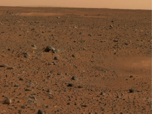 Martian Horizon. This is a portion of the first color image captured by the panoramic camera on the Mars Exploration Rover Spirit. Photo by NASA/JPL.