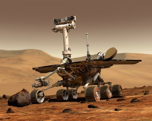 Mars Exploration Rover (MER). An NASA computer generated image of what the Spirit rover would look like on the surface of Mars, before it starts taking rock samples with it's extendable arm. The NASA Spirit rover probe landed on Mars on Sunday, 04 January 2004, in search of signs that the planet was once capable of supporting life. Photo by NASA.