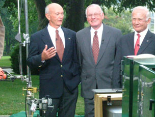 The Apollo 11 crew (Michael Collins, Neil Armstrong, Buzz Aldrin) speaks to the news media following their meeting with President Bush.