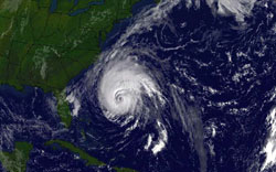 Hurricane Isabel about to lash U.S. mainland with its powerful winds taken on Sept. 17, 2003, at 9:15 a.m. NOAA image