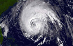Larger view of powerful Hurricane Isabel at the doorstep of the USA mainland taken on Sept. 17, 2003, at 9:15 a.m. NOAA image