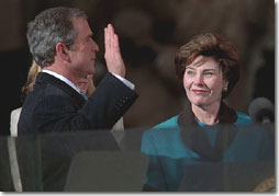 President George W. Bush is sworn-in as the 43rd President of the United States Jan. 20, 2001. White House photo by Wally McNamee