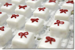 Detail shot of petit fours, discussed by White House Executive Pastry Chef Thaddeus Dubois in his 'Ask the White House' chat, Friday, December 9, 2005, made in preparation for holiday dinners at the White House. White House photo by Shealah Craighead