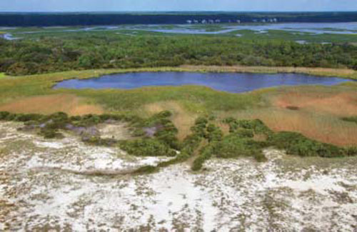 Large-scale coastal modifications and hurricane events closed South Carolina's 35-acre Sandpiper Pond to tidal flows.