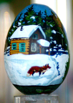 Painted egg by Debbie Edgers Sturges, Hailey, ID