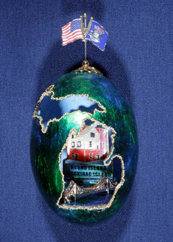 Painted and Decorated Egg Representing Michigan