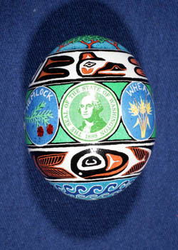 Painted and Decorated Egg Representing Washington