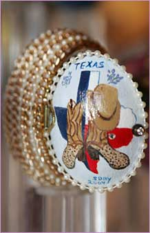 Decorated egg by artist Ms. Sandra J. Day, Cleburne, TX