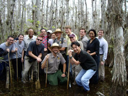 2006-2007 Fellows on a swamp walk in the Everglades during an education policy trip to Florida