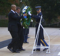 Fellows Mark Smith (Major, USAF) and Jeff Eggers (Lieutenant Commander, USN) lay a wreath at the Tomb of the Unknown Solider, Arlington National Cemetery