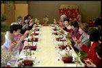 Mrs. Bush is honored by a toast from her hostess Kiyoko Fukuda and a group of prominent women from Tokyo during a special luncheon in her honor at Akasaka Palace Monday, February 18, 2002 in Tokyo.