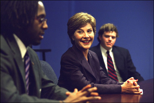 "Laura Bush watches students and teachers in a Teach for America classroom at Greenville High School in Greenville, Ms. ""To say that a teacher has a profound impact on a student's life is only half of the story, because students have just as much of an impact on their teachers,"" said Mrs. Bush during her visit to the school Sept. 25, 2002. White House photo by Susan Sterner."