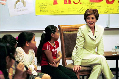 Laura Bush talks to students from Beth Berselli's fifth-grade class at Maxine O. Bush Elementary School in Phoenix, Ariz., May 9, 2003. White House photo by Susan Sterner.