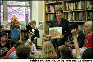 Mrs. Bush visiting and reading to children. White House photo by Moreen Ishikawa.
