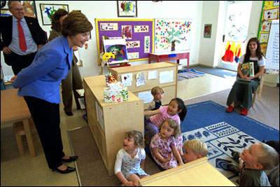 Laura Bush visits the International School of Prague, May 22, 2002. White House photo by Susan Sterner