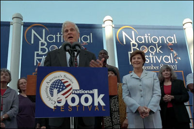 Laura Bush and Dr. James Billington participate in the National Book Festival opening ceremony at the Library of Congress Sept. 9, 2001. White House photo by Moreen Ishikawa.