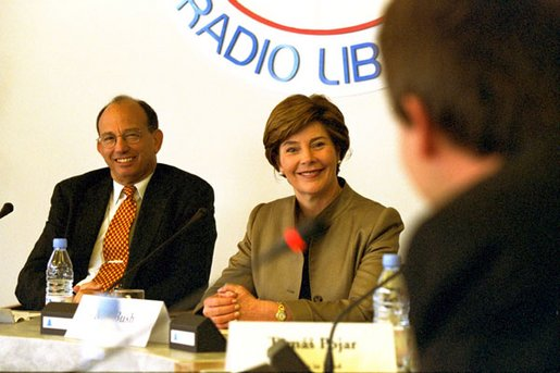 Mrs. Bush speaks to the people of Afghanistan from the headquarters of Radio Free Europe in Prague, May 21, 2002. White House photo by Susan Sterner.