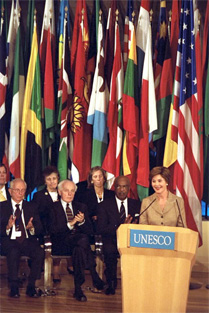 Mrs Bush delivers the keynote address to the United Nations Educational, Scientific and Cultural Organization (UNESCO) General Conference Sept. 9, 2003 at UNESCO headquarters in Paris. White House photo by Susan Sterner.
