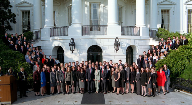 Photo of the President and Mrs. Bush with the 2001 White House Fall Interns.