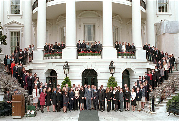 Photo of the President with the 2002 White House Spring Interns.