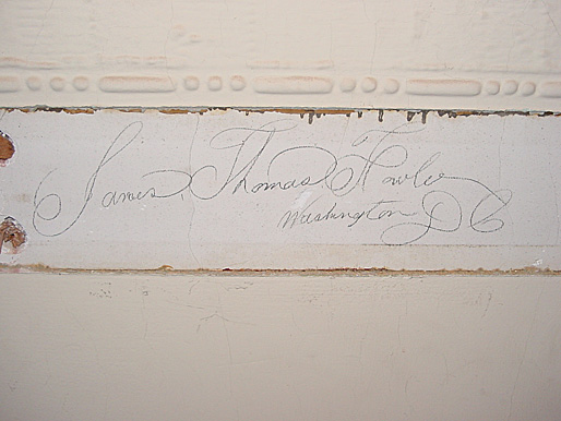 The signature of James Thomas Howle from Washington, DC was found in a third floor office when a section of the 1888 chair rail was recently removed.
