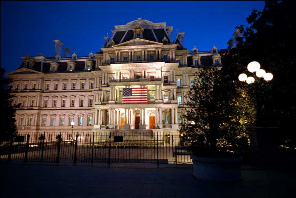 The North wing of the Eisenhower Executive Office Building at night.