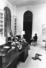 President Nixon and Henry Kissenger confer in Room 180.