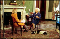 Barbara Bush and her dog, Millie, are interviewed in the Green Room by Paula Zahn for CBS This Morning October 30, 1992.