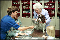 With a curious look, first pet Millie Bush has her paw print made for a greeting card in the China Room on July 2, 1991. Millie's owners were President George H.W. Bush and Barbara Bush. Millie's offspring, Spot, now lives in the White House with President George W. Bush and Laura Bush.