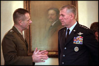 Led by General Richard Myers, the 15th Chairman of the Joint Chiefs of Staff, the Joint Chiefs meet in the Roosevelt Room Oct. 24, 2001.