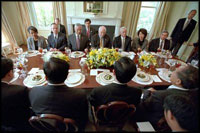 Vice President Dick Cheney hosts a state lunch at the Naval Observatory for Chinese Vice President Hu Jintao May 1, 2002. Photographed with the Vice President, from left to right, are National Security Advisor Dr. Condoleezza Rice, Secretary of Commerce Donald Evans, Secretary of State Colin Powell, Secretary of the Treasury Paul O'Neill, Secretary of Labor Elaine Chao and Deputy Secretary of Defense Paul Wolfowitz.