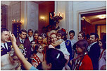 First Lady Pat Nixon greets visitors to the White House on December 23, 1969.