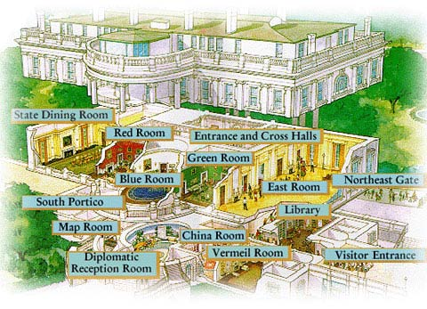 Image Map Showing The Floorplan Of Rooms On White House Tour