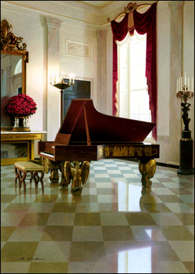 The 2002 greeting card for President and Mrs. Bush features the 1938 Steinway piano in the grand foyer of the White House. The artist is Zhen-Huan Lu.