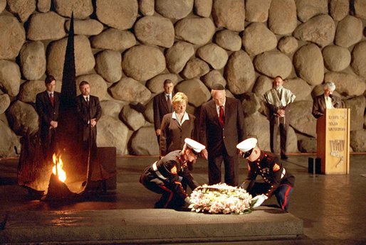 Vice President Dick Cheney and Mrs. Cheney participate in a Wreath Laying Ceremony in the Hall of Remembrance at Yad Vashem in Israel March 18. White House photo by David Bohrer.