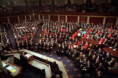 Following the tradition begun by George Washington Jan. 8, 1790, President Bush delivers his State of the Union address to a crowded joint session of Congress in the United States Capitol Jan. 29, 2002. White House photo by Paul Morse.