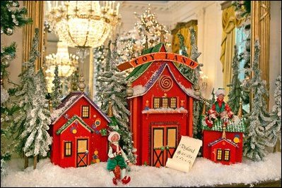 Vignette of Toyland on the Northwest Mantel in the East Room.