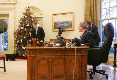 george bush oval office. President George W. Bush Calls Barney To The Oval Office, Friday, Dec. Office O