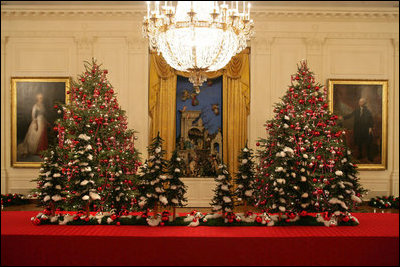 The White House Has A Total Of 17 Decorated Christmas Trees Two Are Placed Next
