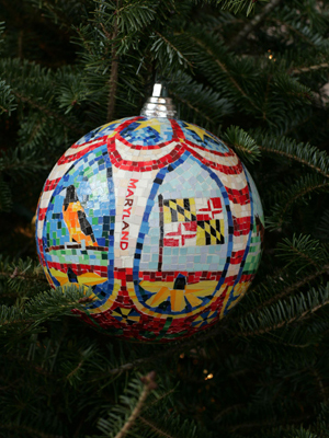 Maryland Senator Ben Cardin selected artist Nina Orlando to decorate the State's ornament for the 2008 White House Christmas Tree.