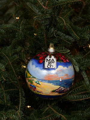 Massachusetts Congressman Bill Delahunt selected artist Sally Dean Mello to decorate the 10th District's ornament for the 2008 White House Christmas Tree.