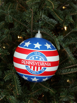 Pennsylvania Congressman John Murtha selected artist Richard Newill to decorate the 12th District's ornament for the 2008 White House Christmas Tree